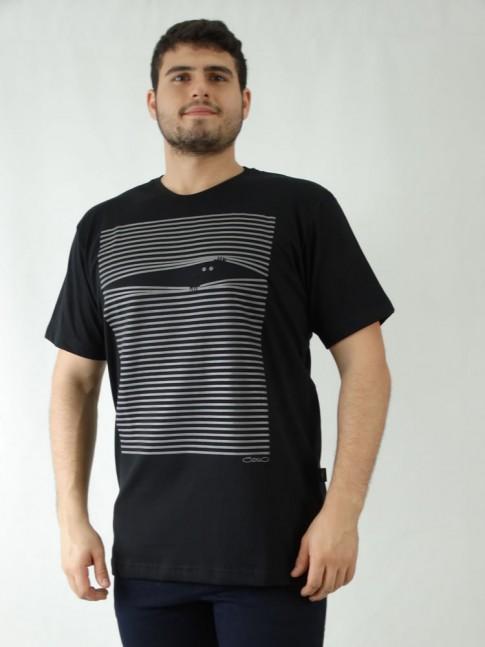 Camisa Masculina em Malha de Algodão Preto Estampa Listras [1907187]