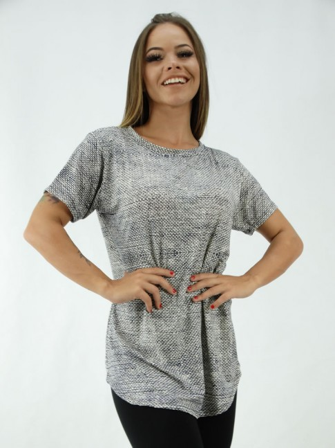T-Shirt Mullet Sobre Legging em Viscolycra Animal Print Cinza [2001296]