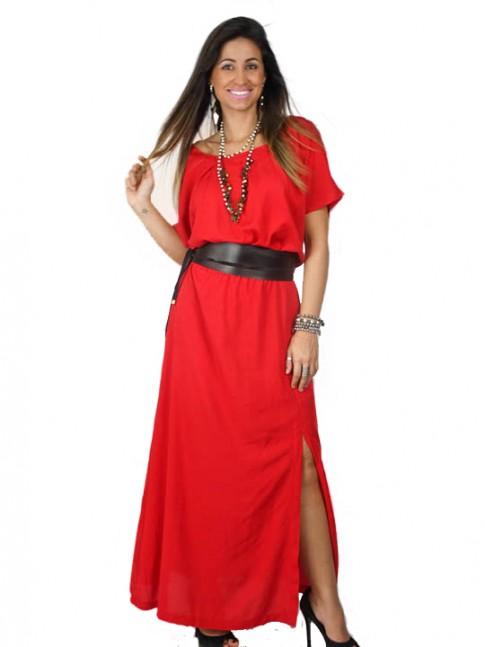 Vestido tecido viscose longo com fenda
