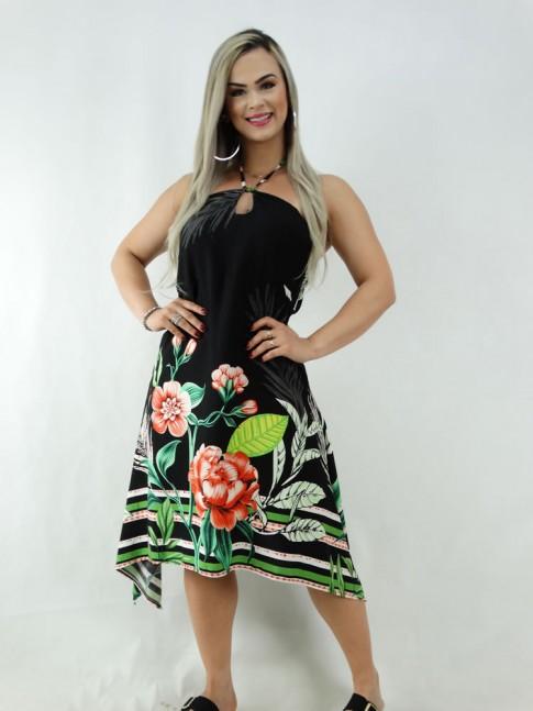 Vestido Assimetrico em Viscose Preto Flores Etnico [2001030]