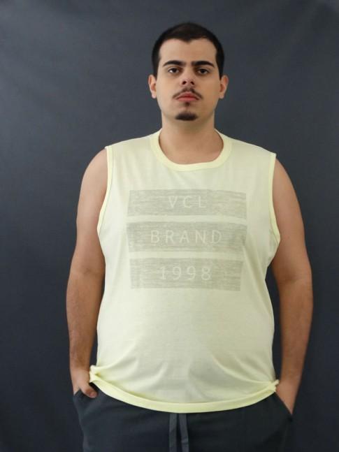 Camiseta Masculina Regata Três Listras Amarelo Plus Size [2010052]