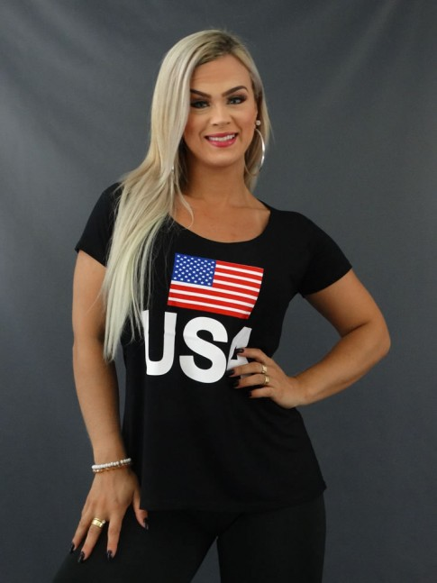 Blusa T-shirt Estampada em Viscolycra Preto USA [2103111]