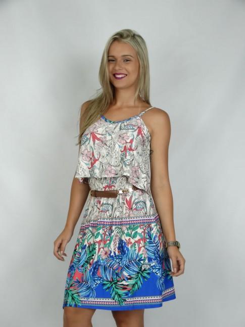 308 - Vestido em Visco Lycra de alça com blusa sobreposta Estampa Flores e folhas Azul