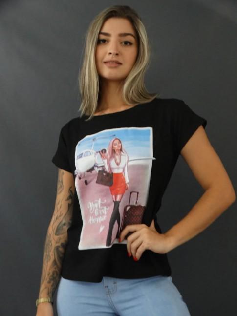Blusa T-shirt Estampada em Viscolycra Preto Mulher Viajante [2103152]