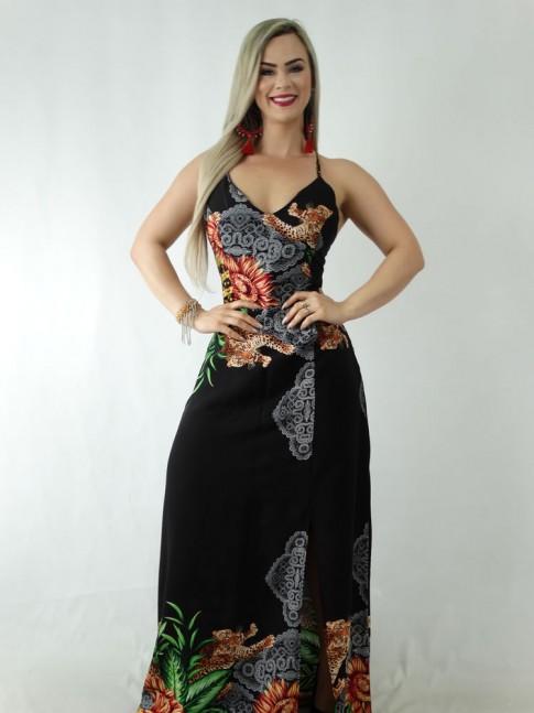 Vestido Longo em Viscose com Bojo Costas com Tiras Preto Onça Étnico [1908090]