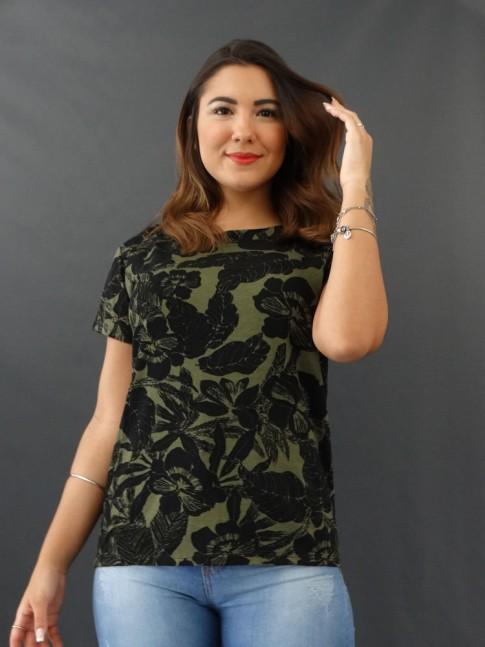 T-shirt Estampada em Viscolycra Verde Folhas Preto [2012030]