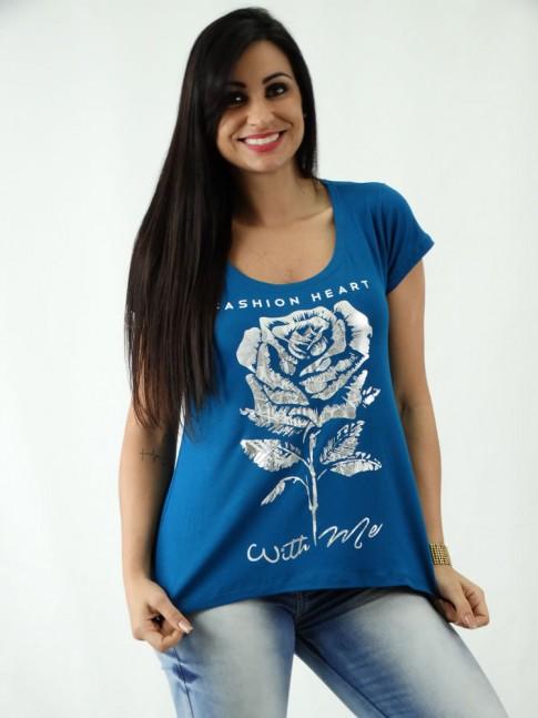 T-shirt em Viscolycra Mullet Estampa Rosa