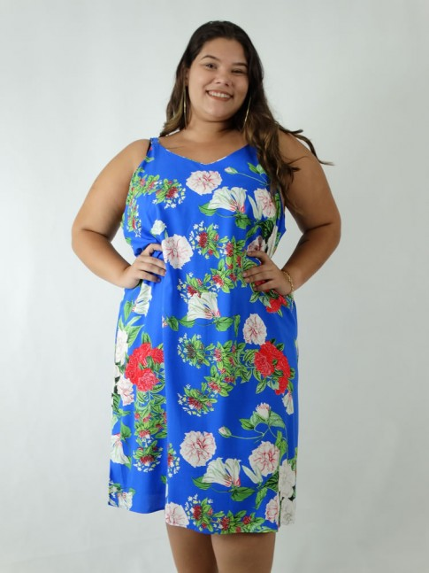 Vestido em Viscose Decote V Alca Larga Plus Size Azul Flores [1903041]