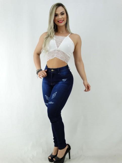 Calça Jeans Detalhes Puidos com Stretch [2003045]