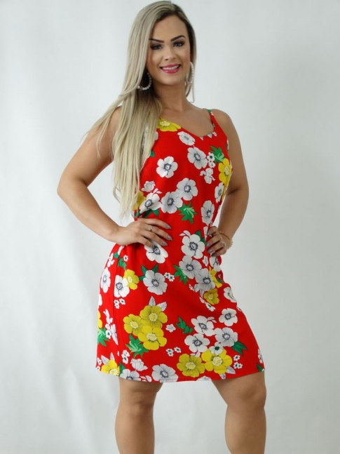 Vestido em Viscose Decote V Alca Fina Vermelho Flores [1903046]