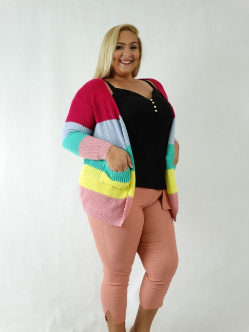 Cardigan em Tricot Listras Colors Plus Size [1907041]