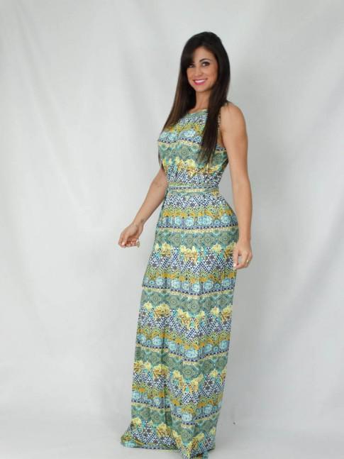 Vestido longo com faixa estampa étnica color