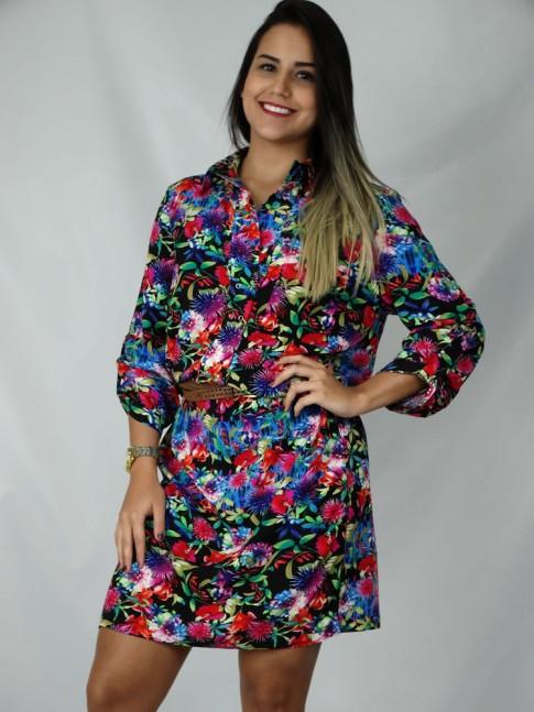 Vestido de viscose com botão de pressão estampa floral color