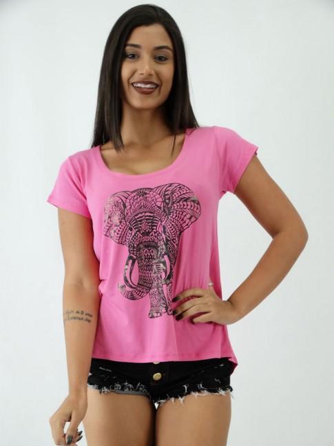 T-shirt em Viscolycra Estampa Elefante Indiano