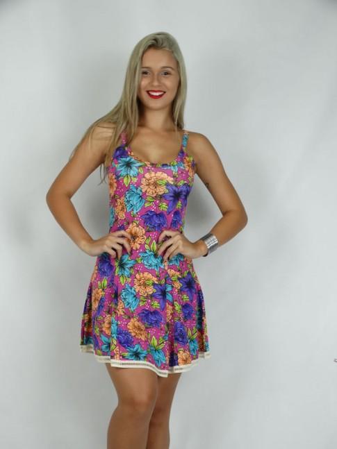 314 - Vestido em Viscose com Aplicação de Renda Estampa Flores Coloridas 634