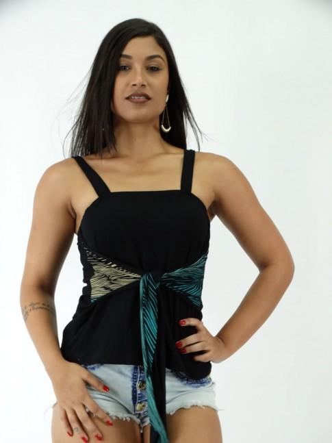 Blusa em Viscolycra Frente com Amarracao Preta Riscos