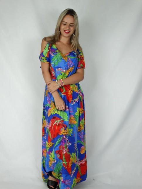 Vestido de viscose longo aberto nas costas estampa floral azul