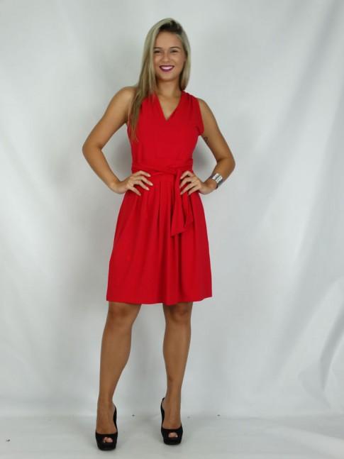 308 - Vestido em Viscolycra com Três Maneiras de usar Vermelho Liso