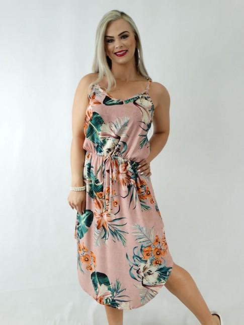 Vestido em Viscose Midi de Alça com Elástico na Cintura Rose Folhas Flores [1911150]