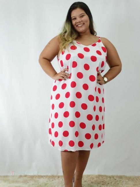 Vestido em Viscose Decote V Plus Size Branco Poa Vermelho [1812032]