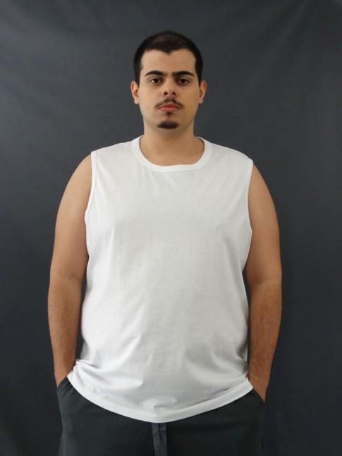Camiseta Masculina Regata Machão Basic Plus Size Branco [2010128]