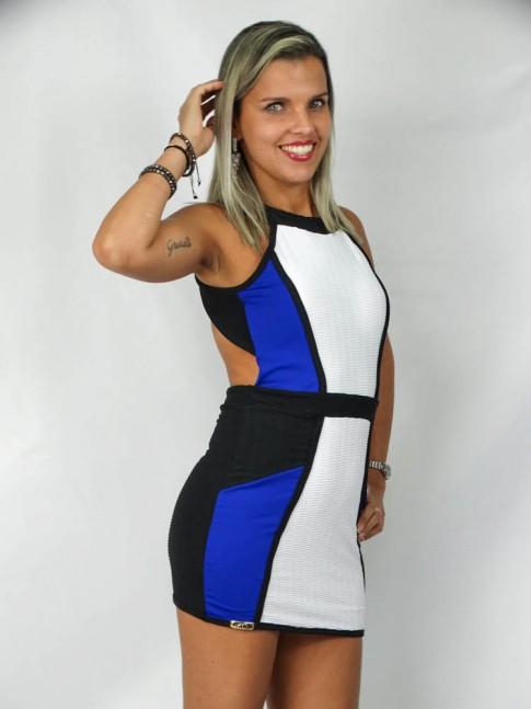 Vestido frente única floc preto, branco e azul