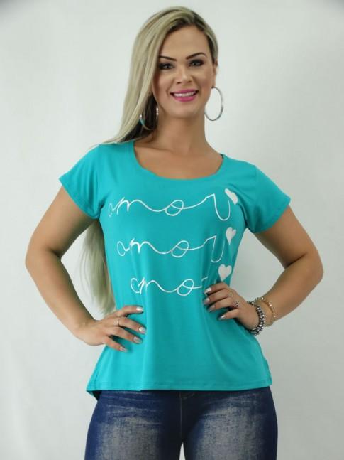 T-Shirt em Viscolycra Estilo Mullet Azul Turquesa Amor [1902095]