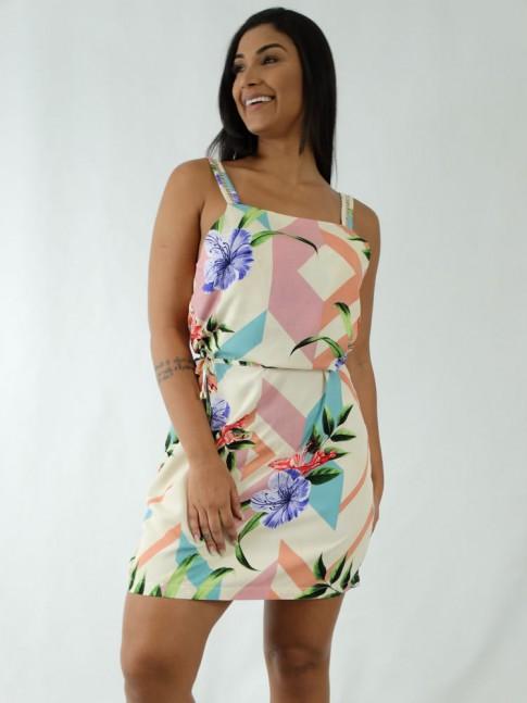 Vestido em Viscose Decote Quadrado de Alça Trabalhada Bege Flores Detalhes Colors [1912035]