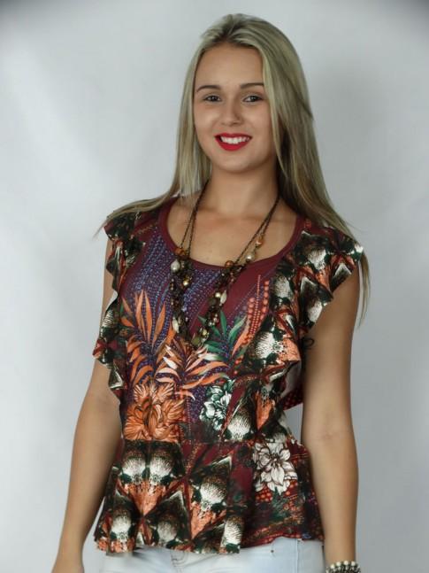 308 - Blusa com babado e decote nas costas estampa flores