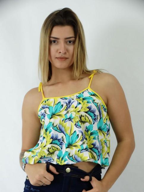 Blusa Cropped em Viscose Alca com Amarracao Branco Flora Brasil