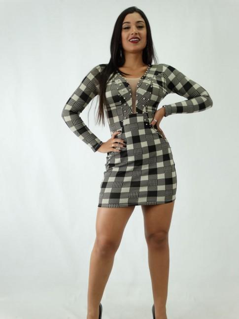 Vestido em Suplex Tubinho Manga Longa com Tule e Bolinhas Bege e Preto