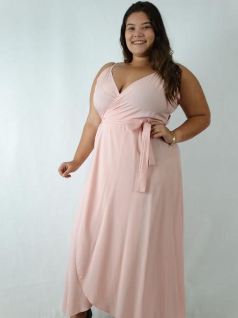 Vestido em Viscose Envelope Plus Size Rosa [1905010]