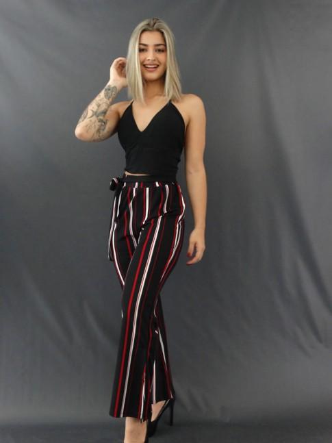 Calça Pantalona com Fenda e Faixa Lateral em Crepe de Malha Preto, Vermelho e Branco [2011183]