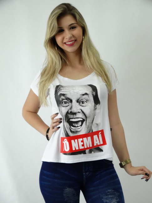 T-shirt em Viscolycra Estilo Mullet To nem Ai [1809114]