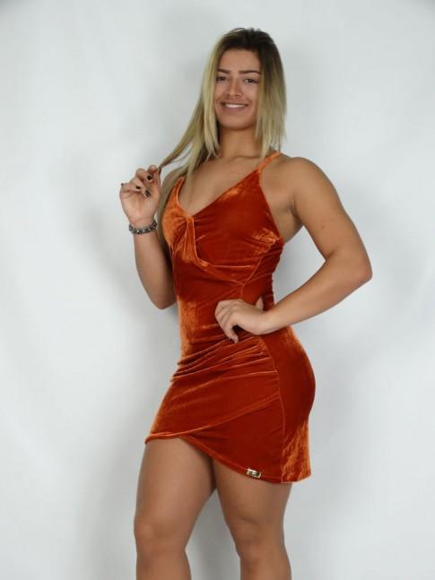 200- Vestido Veludo Molhado Transpassado de Alça