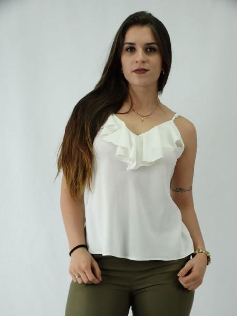 Blusa em Viscose Decote V com Babado Off White