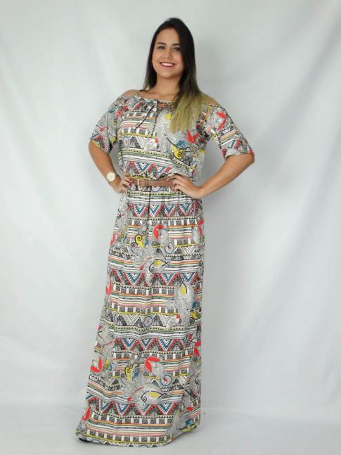 308-Vestido longo com recorte na manga estampa étnica colorido