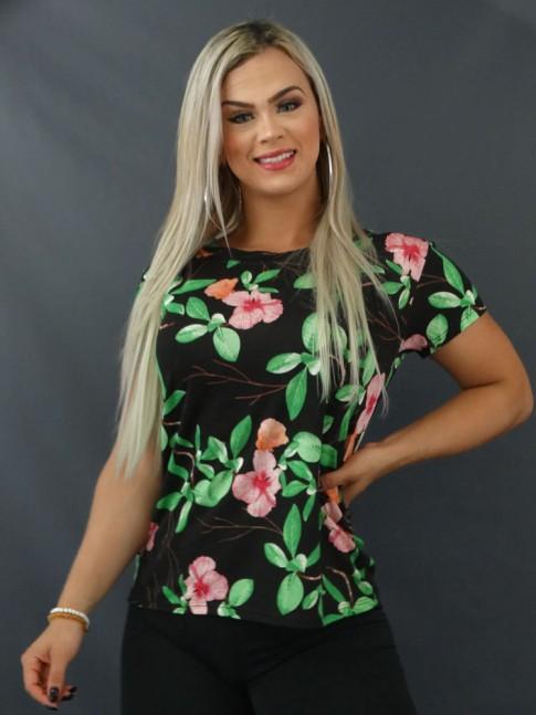 Blusa T-shirt Estampada em Viscolycra Preto Folhas Verdes [2103131]