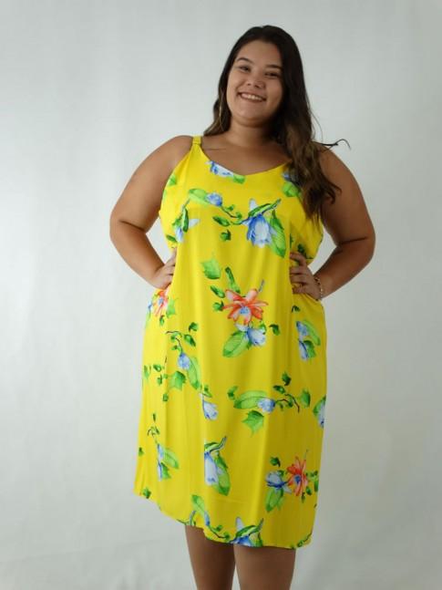 Vestido em Viscose Decote V Alca Larga Plus Size Amarelo Flores [1903042]