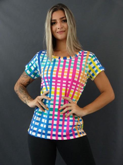 Blusa T-shirt Estampada em Viscolycra Quadriculado Colors [2101118]