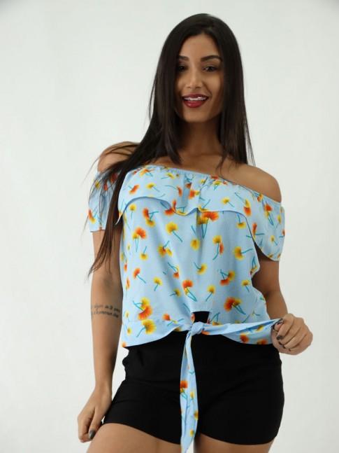 Blusa Ciganinha em Viscose com Amarracao Azul Claro Flores