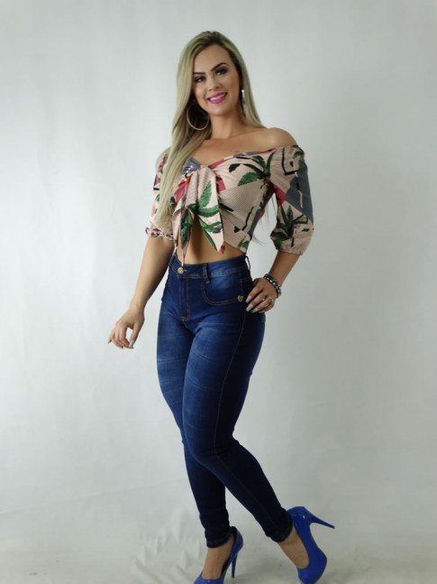Calca Jeans Hot Pants Escura