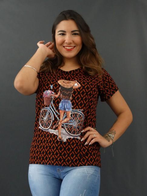 T-shirt Estampada em Viscolycra Preto Étnico Ferrugem Bike [2012041]