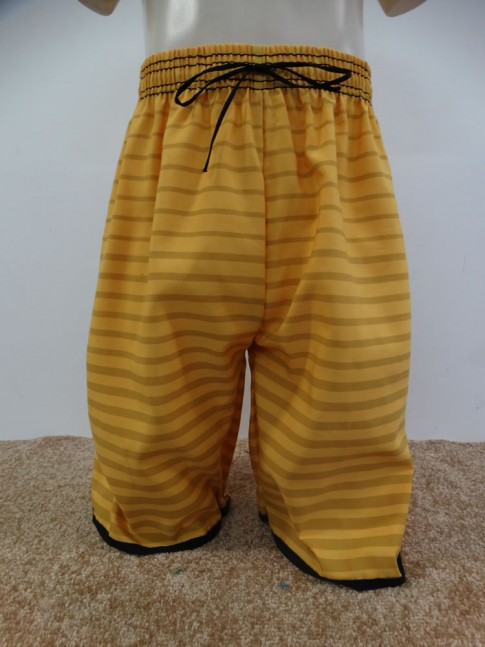Bermuda Infantil em Microfibra Amarelo Listras [1901282]
