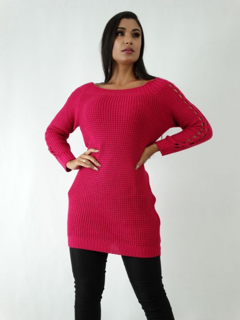 Blusa em Tricot Sobre Leg Rosa Pink [1904118]