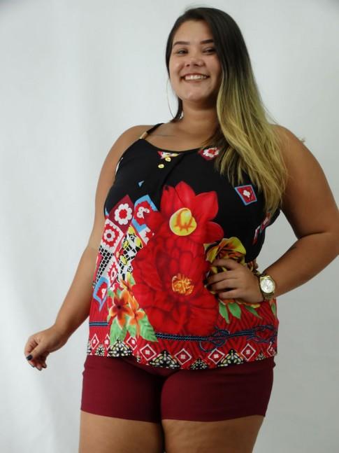 Blusa em Viscose de Alca com Detalhes e Botoes Plus Size Preto Etnico Flores Colors [1903018]