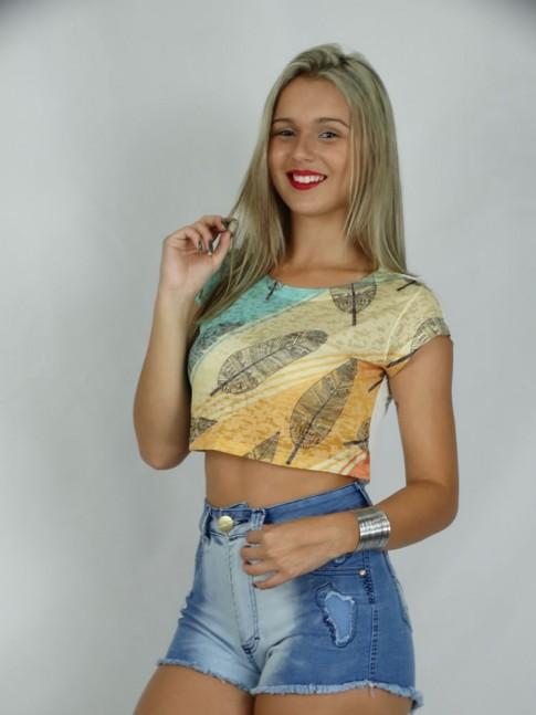 313 - Blusa T-shirt cropped Estampa Folhas