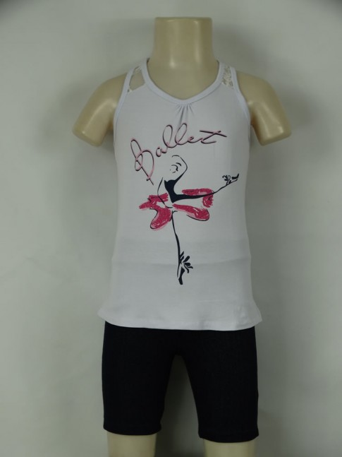 311 - Conjunto c/bermuda Fem.Inf.  Ballet Regata c/Renda