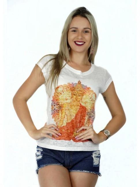 313 - T-Shirt Baby Look Devorê estampa  Deusa Indiana 60