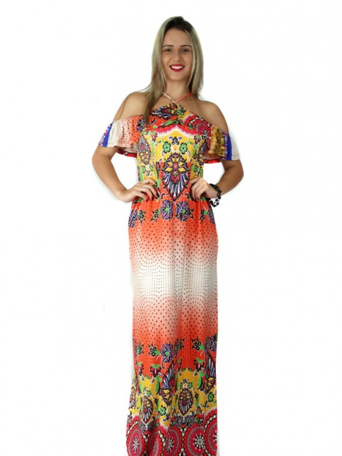 308 - Vestido Longo Ciganinha em Viscolycra Estampa Flores e Poa